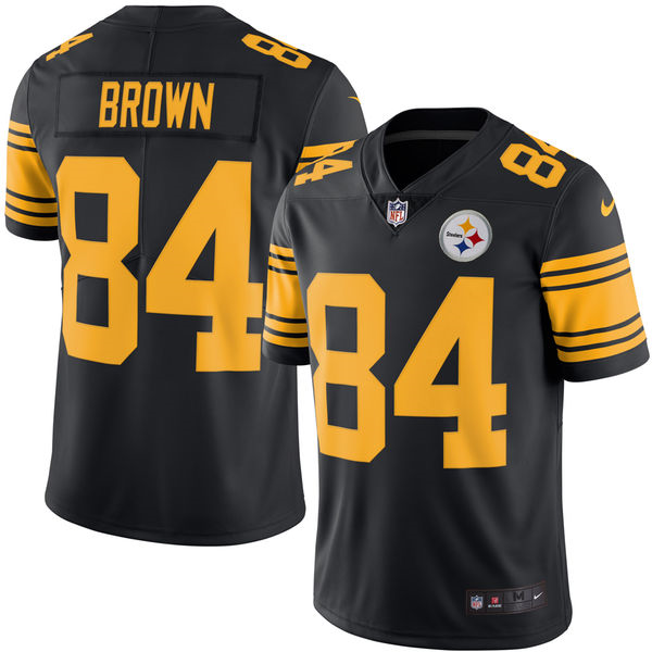 Men's Pittsburgh Steelers #84 Antonio Brown Nike Black Color Rush Limited Jersey