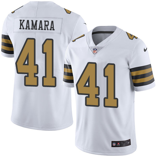Nike New Orleans Saints #41 Alvin Kamara White Men's Stitched NFL Limited Rush Jersey