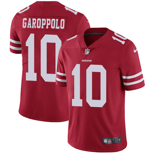 Men's Nike San Francisco 49ers #10 Jimmy Garoppolo Red Team Color Stitched NFL Vapor Untouchable Limited Jersey