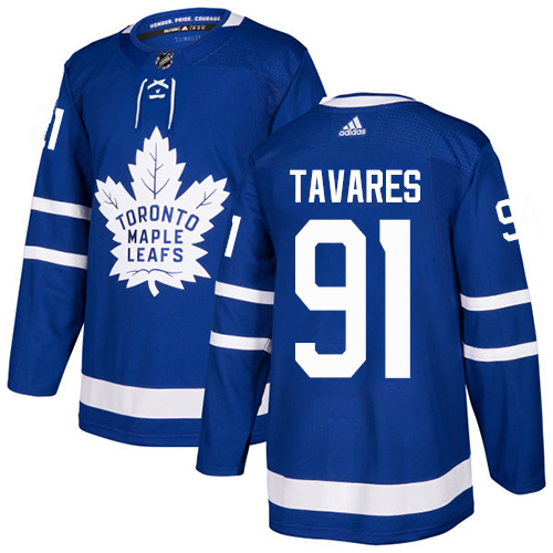 Men's Toronto Maple Leafs #91 John Tavares Blue Home Authentic Stitched NHL Jersey
