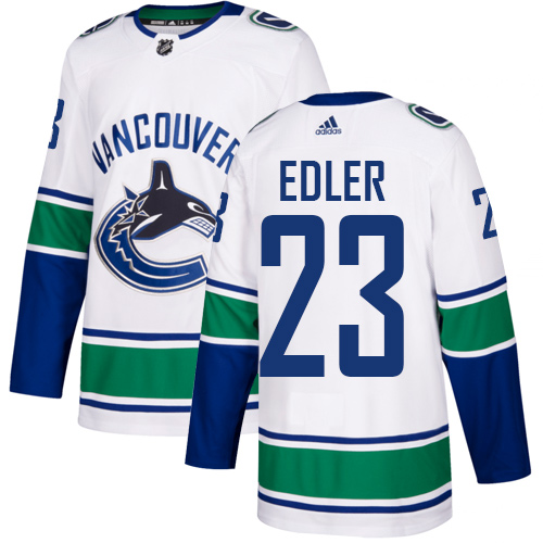 Men's Adidas Vancouver Canucks #23 Alexander Edler White Road Authentic Stitched NHL Jersey