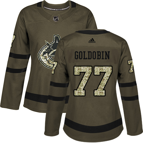 Women's Adidas Vancouver Canucks #77 Nikolay Goldobin Green Salute to Service Stitched NHL Jersey