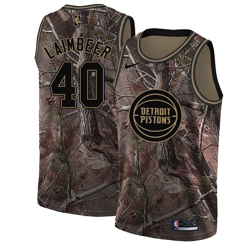 Men's Nike Detroit Pistons #40 Bill Laimbeer Camo NBA Swingman Realtree Collection Jersey