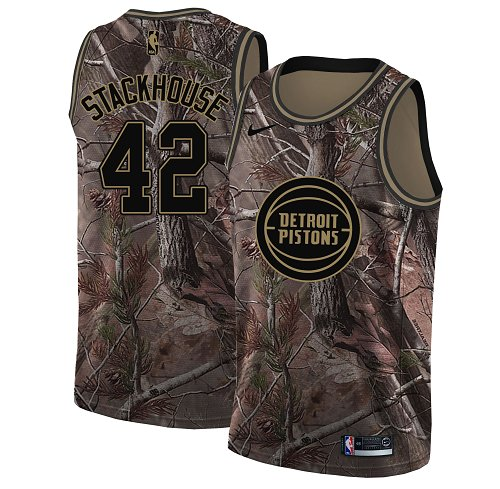 Men's Nike Detroit Pistons #42 Jerry Stackhouse Camo NBA Swingman Realtree Collection Jersey