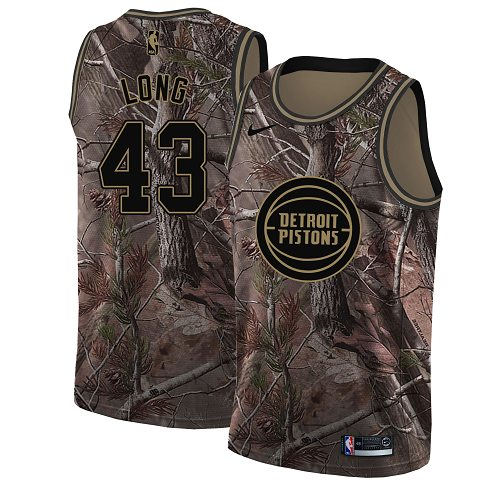 Men's Nike Detroit Pistons #43 Grant Long Camo NBA Swingman Realtree Collection Jersey