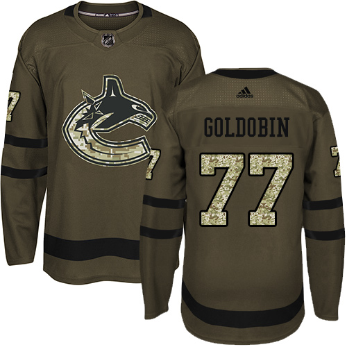 Youth Adidas Vancouver Canucks #77 Nikolay Goldobin Green Salute to Service Stitched NHL Jersey