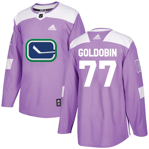 Youth Adidas Vancouver Canucks #77 Nikolay Goldobin Purple Authentic Fights Cancer Stitched NHL Jersey