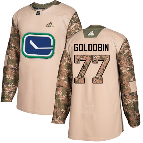 Youth Adidas Vancouver Canucks #77 Nikolay Goldobin Camo Authentic 2017 Veterans Day Stitched NHL Jersey