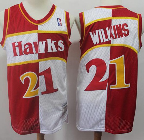 Men's Nike Atlanta Hawks #21 Dominique Wilkins Split Fashion Red White Stitched Basketball Jersey