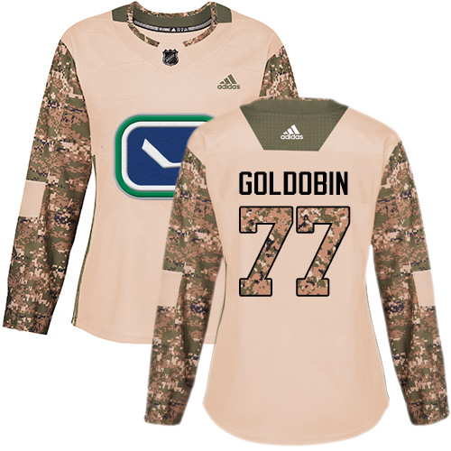 Women's Adidas Vancouver Canucks #77 Nikolay Goldobin Camo Authentic 2017 Veterans Day Stitched Hockey Jersey