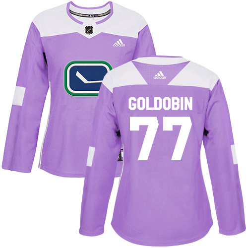 Women's Adidas Vancouver Canucks #77 Nikolay Goldobin Purple Authentic Fights Cancer Stitched Hockey Jersey