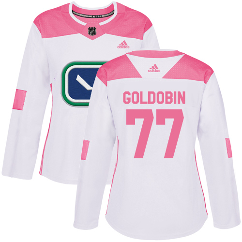 Women's Adidas Vancouver Canucks #77 Nikolay Goldobin White Pink Authentic Fashion Stitched Hockey Jersey