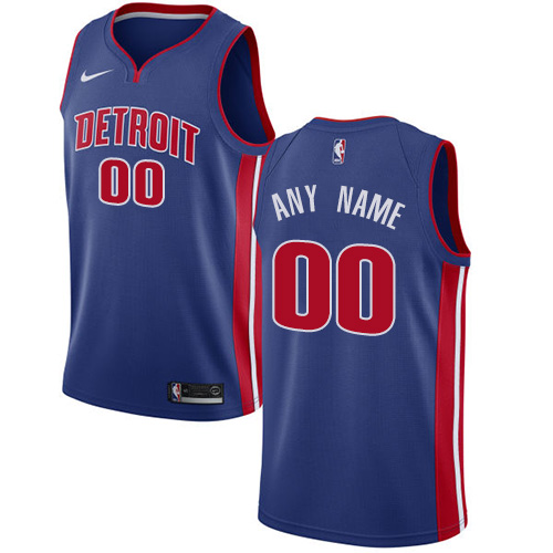 Men's Nike Detroit Pistons Personalized Swingman Royal Blue NBA Icon Edition Jersey