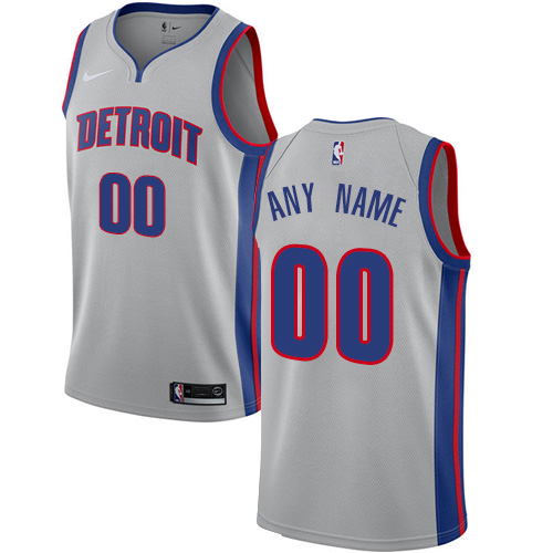 Men's Nike Detroit Pistons Personalized Swingman Silver NBA Statement Edition Jersey