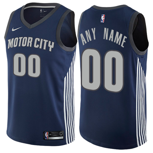 Men's Nike Detroit Pistons Personalized Swingman Navy Blue NBA City Edition Jersey