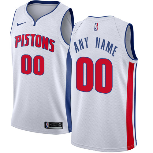 Men's Nike Detroit Pistons Personalized Swingman White NBA Association Edition Jersey