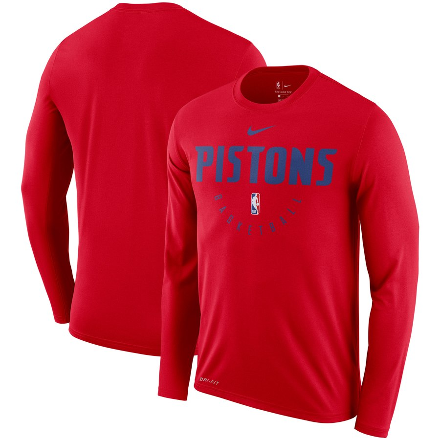 Men's Detroit Pistons Nike Practice Performance Legend Long Sleeve T-Shirt Red
