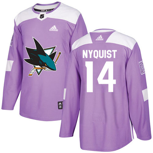 Men's Adidas San Jose Sharks #14 Gustav Nyquist Purple Authentic Fights Cancer Stitched NHL Jersey