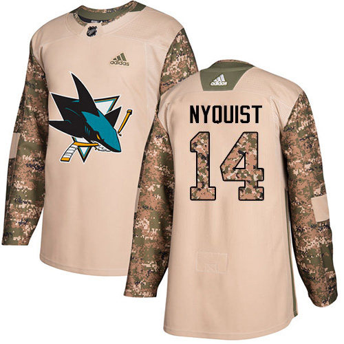 Men's Adidas San Jose Sharks #14 Gustav Nyquist Camo Authentic 2017 Veterans Day Stitched NHL Jersey