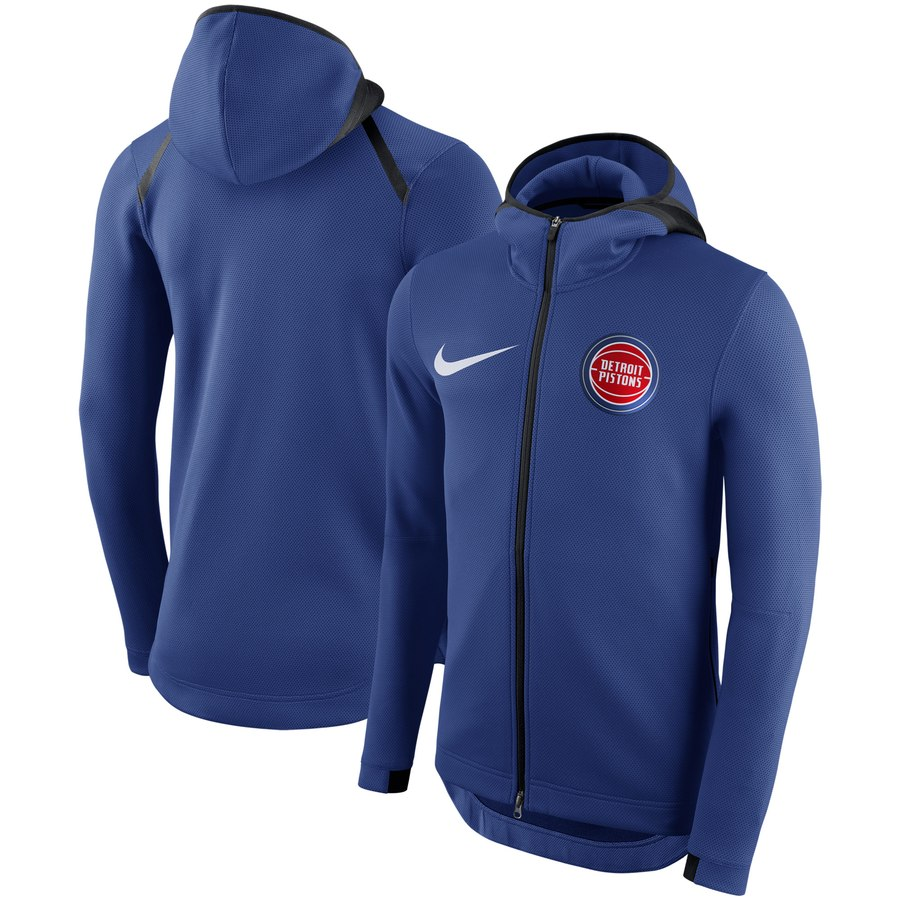 Men's Detroit Pistons Nike Showtime Therma Flex Performance Full-Zip Hoodie Blue