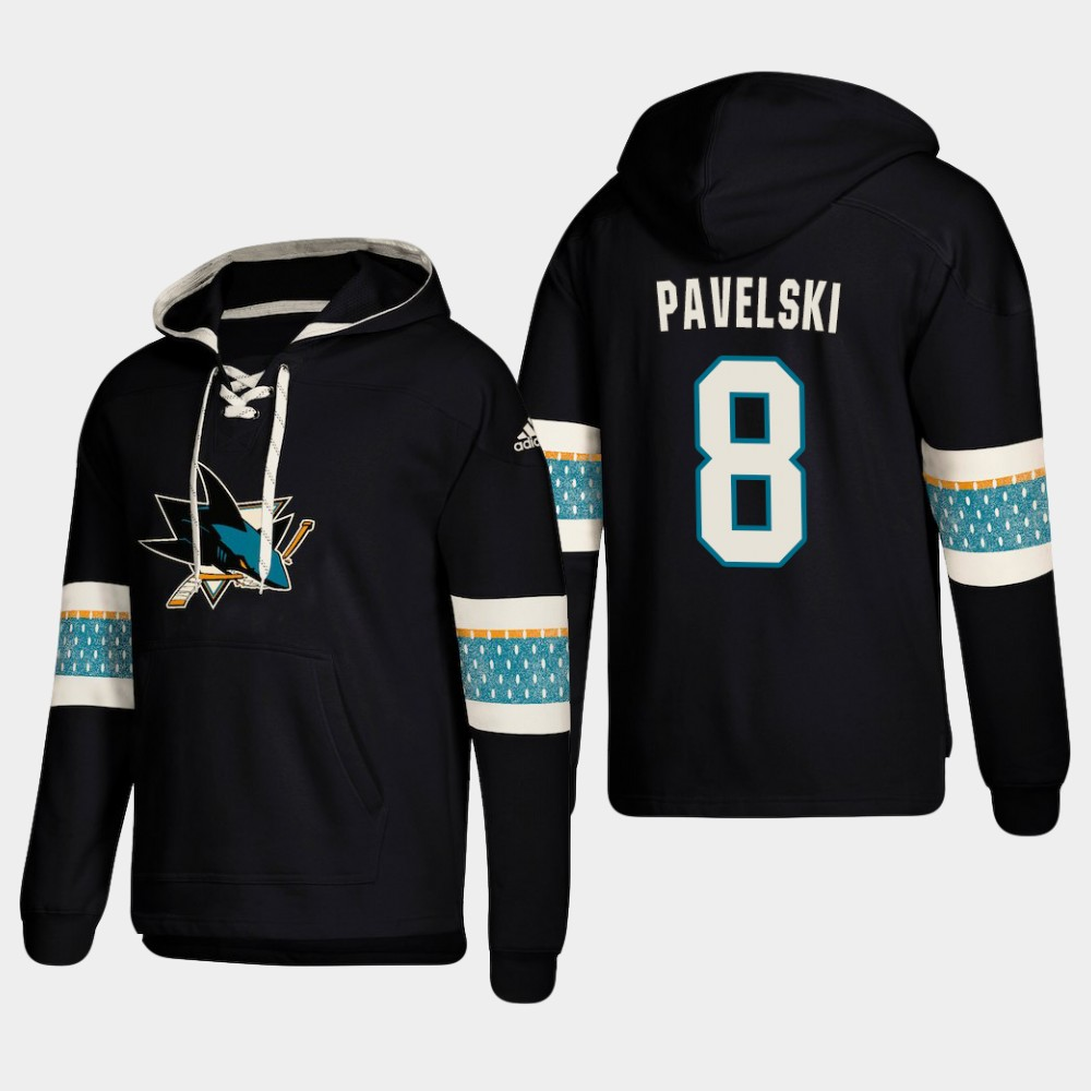 Men's San Jose Sharks #8 Joe Pavelski Black adidas Lace-Up Pullover Hoodie