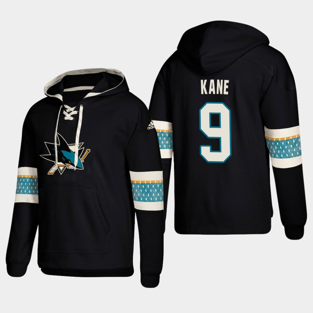 Men's San Jose Sharks #9 Evander Kane Black adidas Lace-Up Pullover Hoodie