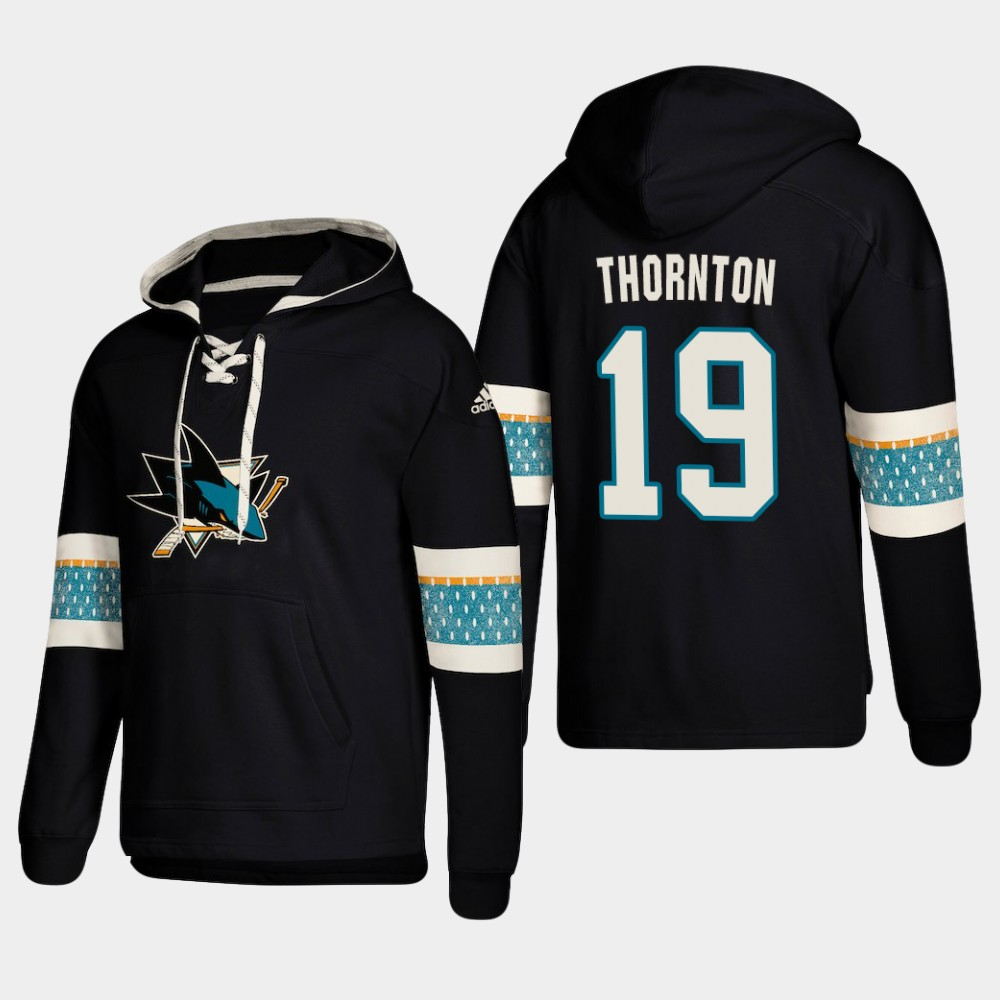 Men's San Jose Sharks #19 Joe Thornton Black adidas Lace-Up Pullover Hoodie