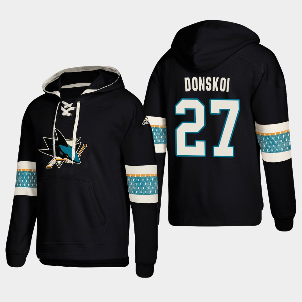 Men's San Jose Sharks #27 Joonas Donskoi Black adidas Lace-Up Pullover Hoodie