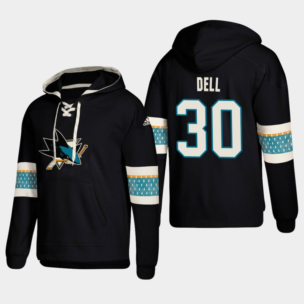 Men's San Jose Sharks #30 Aaron Dell Black adidas Lace-Up Pullover Hoodie