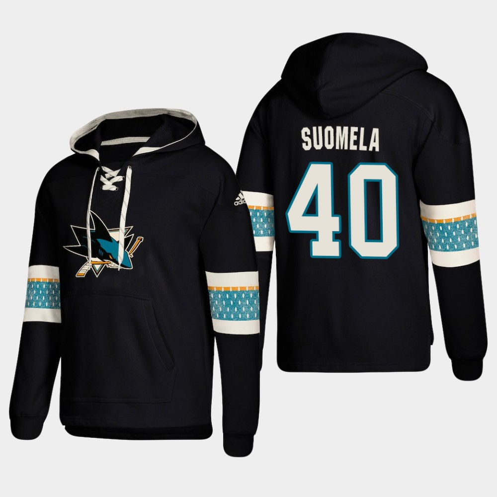 Men's San Jose Sharks #40 Antti Suomela Black adidas Lace-Up Pullover Hoodie