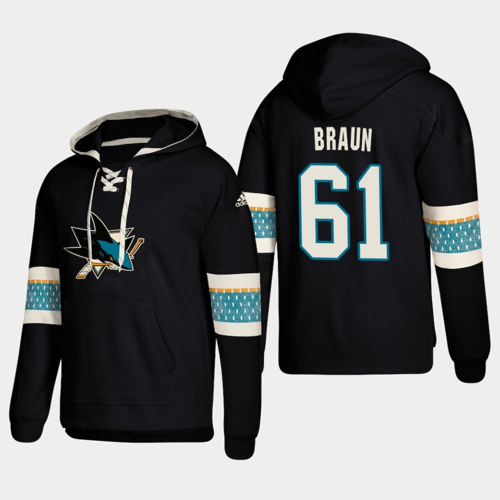 Men's San Jose Sharks #61 Justin Braun Black adidas Lace-Up Pullover Hoodie