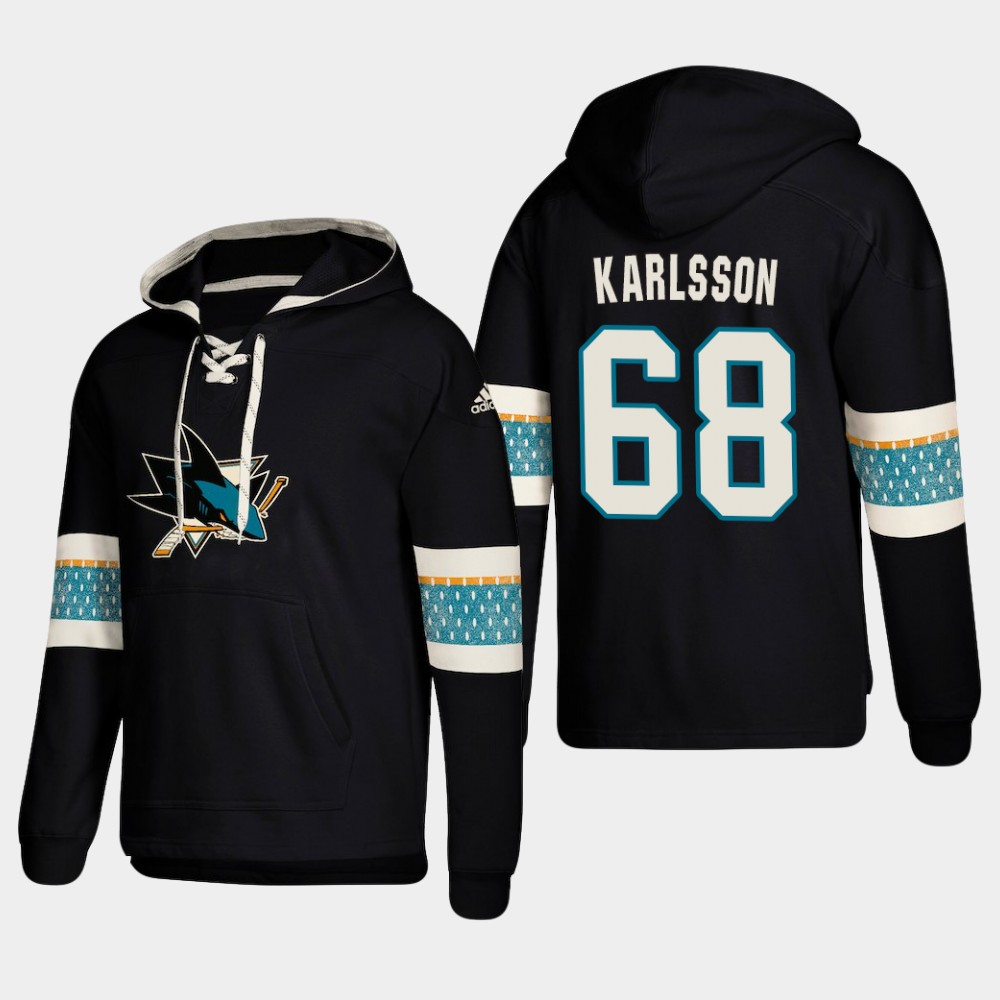 Men's San Jose Sharks #68 Melker Karlsson Black adidas Lace-Up Pullover Hoodie