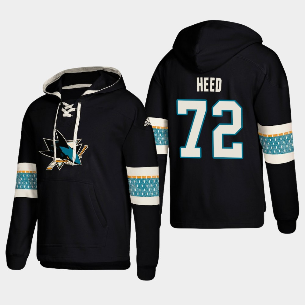 Men's San Jose Sharks #72 Tim Heed Black adidas Lace-Up Pullover Hoodie