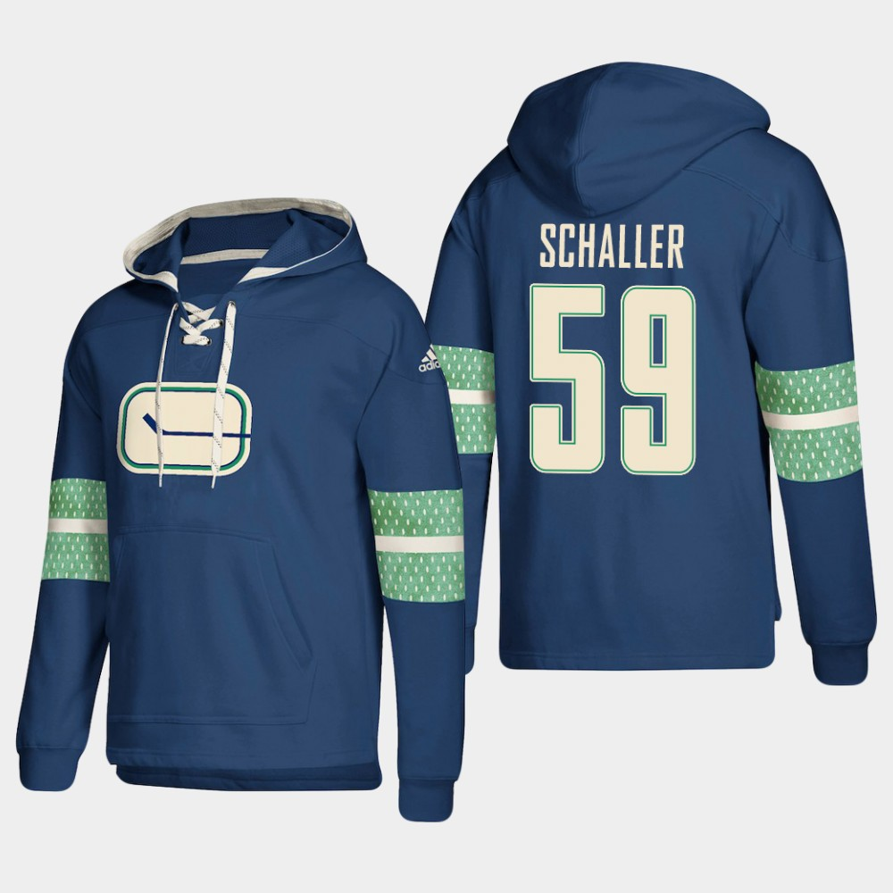 Men's Vancouver Canucks #59 Tim Schaller Blue adidas Lace-Up Pullover Hoodie