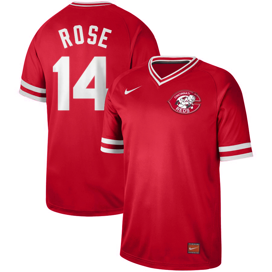 Men's Cincinnati Reds #14 Pete Rose Nike Cooperstown Collection Legend V-Neck Jersey Red