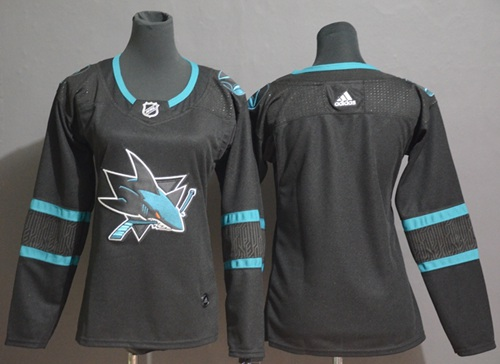 Women's Adidas San Jose Sharks Customzied Black Alternate Authentic Stitched NHL Jersey