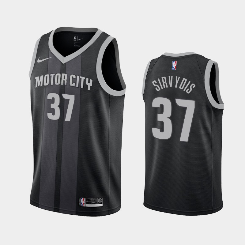 Men's Nike Detroit Pistons #37 Deividas Sirvydis Black NBA Swingman City Edition 2019 Draft Jersey
