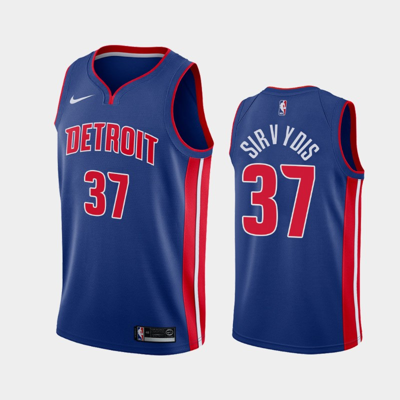 Men's Nike Detroit Pistons #37 Deividas Sirvydis Blue NBA Swingman Icon Edition 2019 Draft Jersey