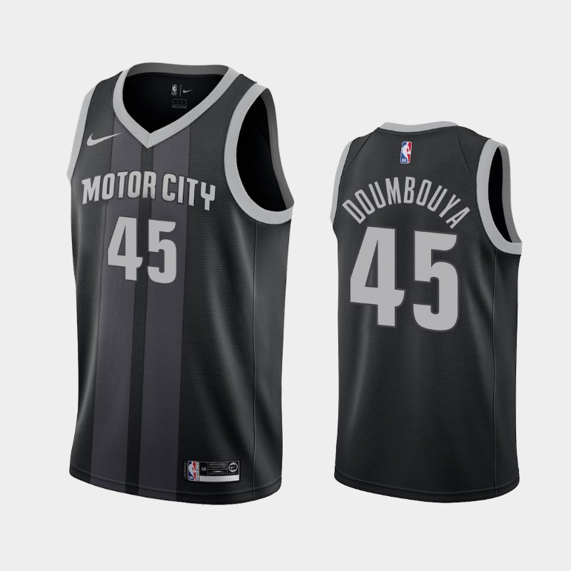 Men's Nike Detroit Pistons #45 Sekou Doumbouya Black NBA Swingman City Edition 2019 Draft Jersey