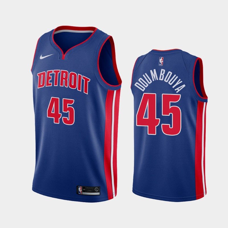 Men's Nike Detroit Pistons #45 Sekou Doumbouya Blue NBA Swingman Icon Edition 2019 Draft Jersey