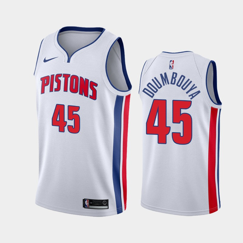 Men's Nike Detroit Pistons #45 Sekou Doumbouya White NBA Swingman Association Edition 2019 Draft Jersey