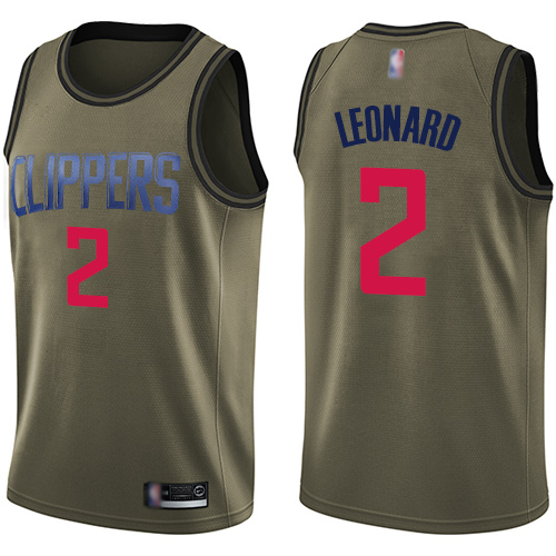 Youth Nike Los Angeles Clippers #2 Kawhi Leonard Green Salute to Service NBA Swingman Jersey