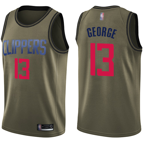 Youth Nike Los Angeles Clippers #13 Paul George Green NBA Swingman Salute to Service Jersey