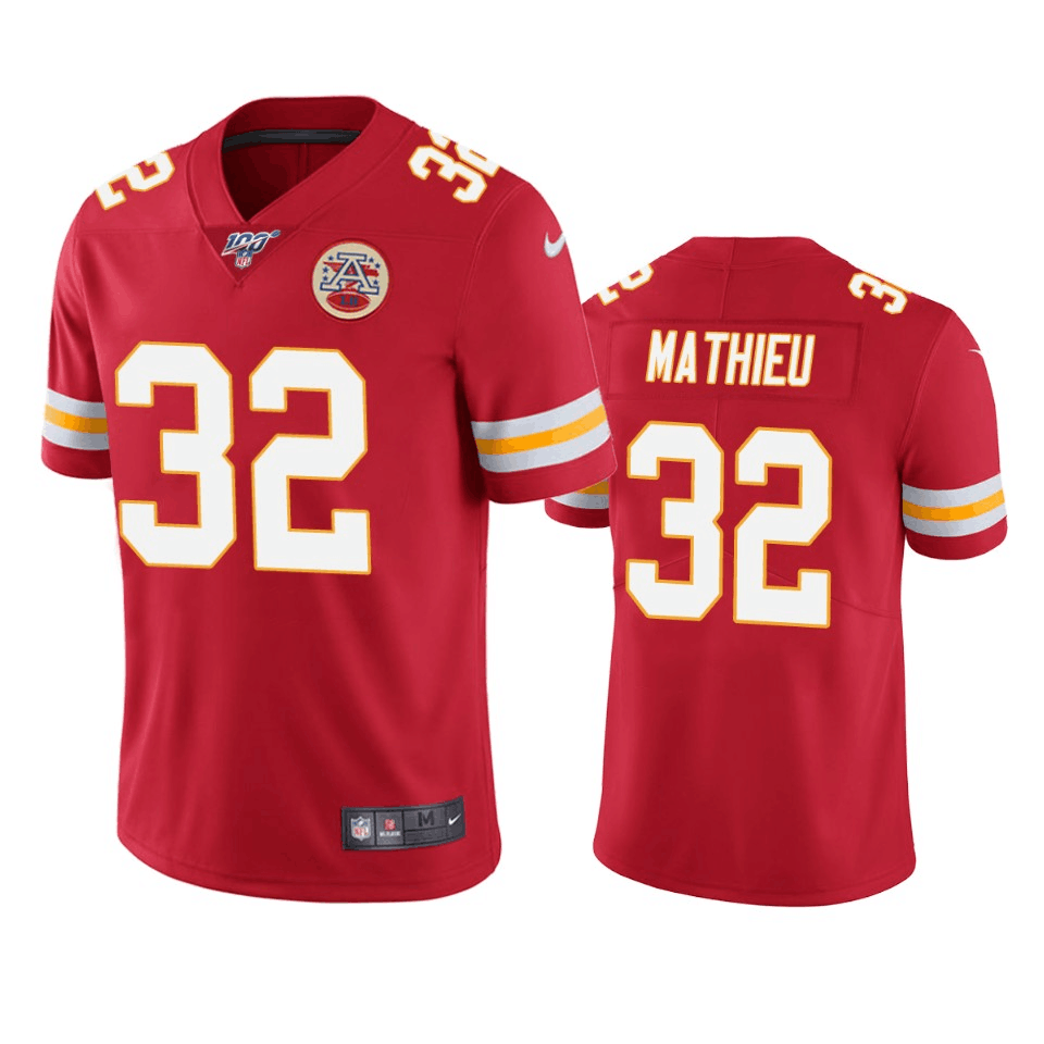 Men's Nike Kansas City Chiefs #32 Tyrann Mathieu Red 2019 100th Season Vapor Untouchable Limited Stitched NFL Jersey