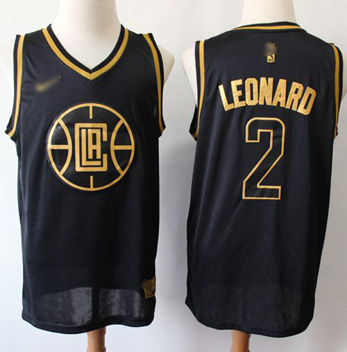 Men's Nike Los Angeles Clippers #2 Kawhi Leonard Black Gold Basketball Swingman Limited Edition Jersey