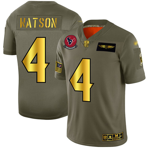 Nike Houston Texans #4 Deshaun Watson Camo Gold Men's Stitched Football Limited 2019 Salute To Service Jersey