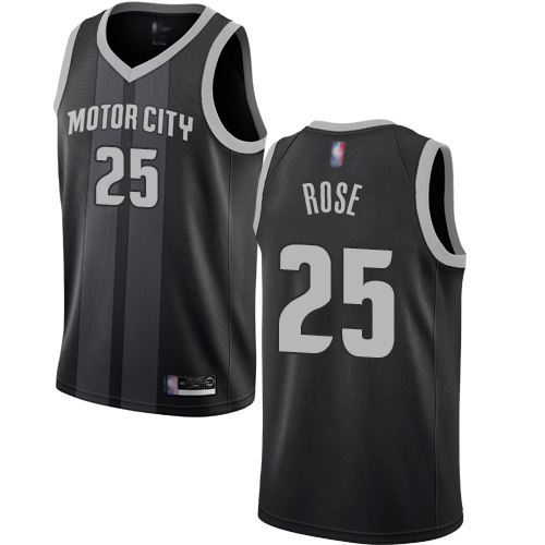 Men's Nike Detroit Pistons #25 Derrick Rose Black NBA Swingman City Edition 2018 19 Jersey