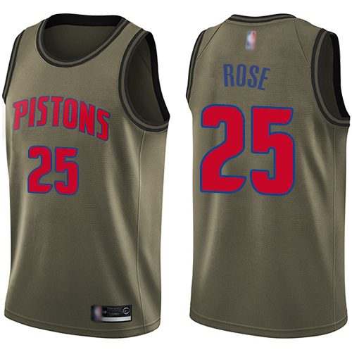 Men's Nike Detroit Pistons #25 Derrick Rose Green NBA Swingman Salute to Service Jersey