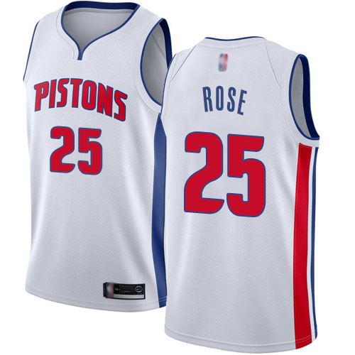 Men's Nike Detroit Pistons #25 Derrick Rose White NBA Swingman Association Edition Jersey