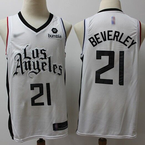 Men's Nike Los Angeles Clippers #21 Patrick Beverley White NBA Swingman City Edition 2019-20 Jersey